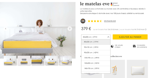 le matelas eve est disponible en 10 tailles et formats diff rents. Black Bedroom Furniture Sets. Home Design Ideas