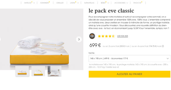 pack eve classic offre combin e incluant le matelas 20. Black Bedroom Furniture Sets. Home Design Ideas
